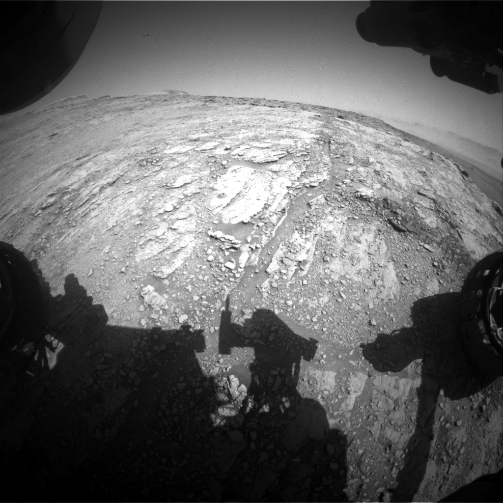 Nasa's Mars rover Curiosity acquired this image using its Front Hazard Avoidance Camera (Front Hazcam) on Sol 2518, at drive 3002, site number 76