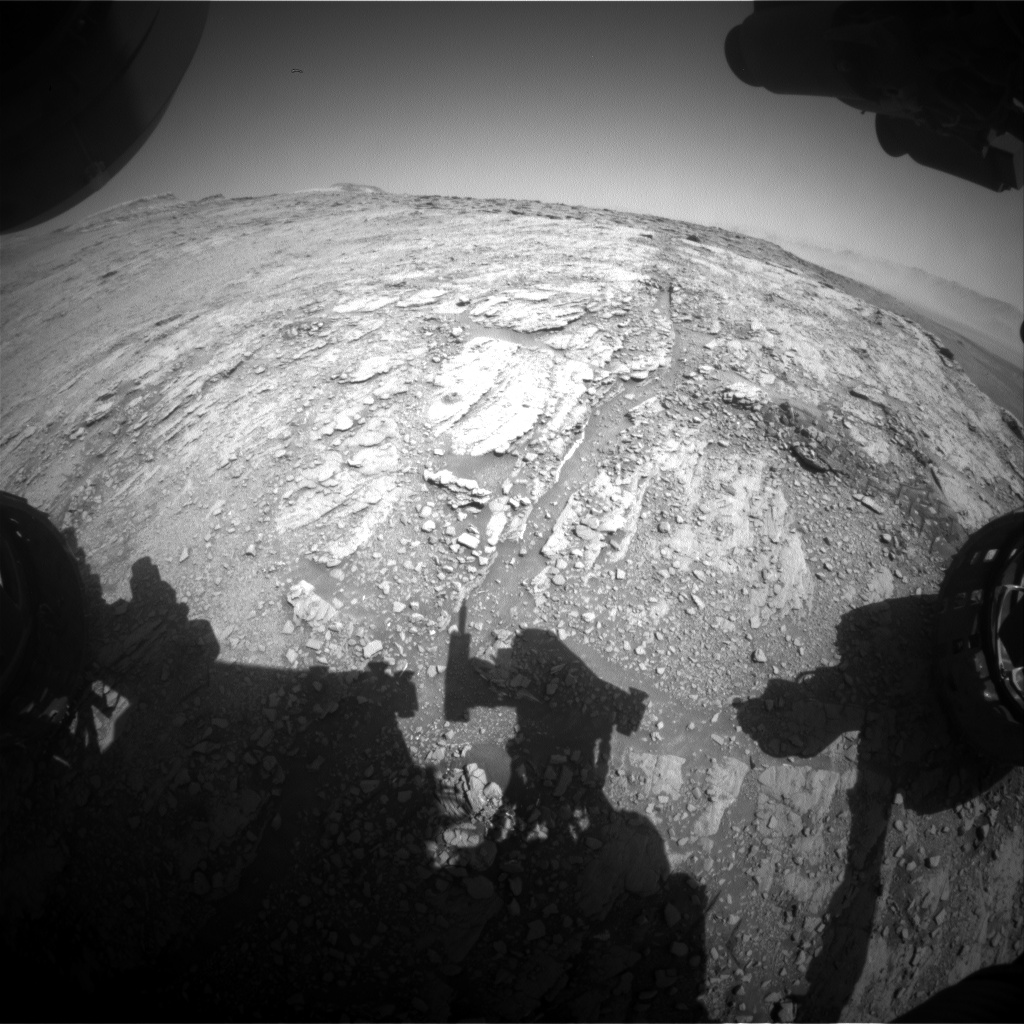 Nasa's Mars rover Curiosity acquired this image using its Front Hazard Avoidance Camera (Front Hazcam) on Sol 2519, at drive 3002, site number 76