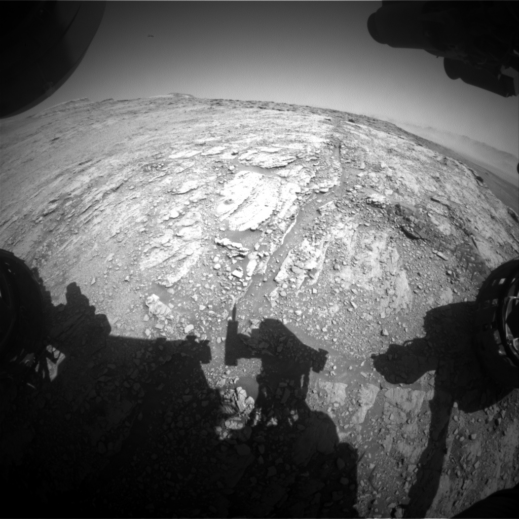 Nasa's Mars rover Curiosity acquired this image using its Front Hazard Avoidance Camera (Front Hazcam) on Sol 2520, at drive 3002, site number 76