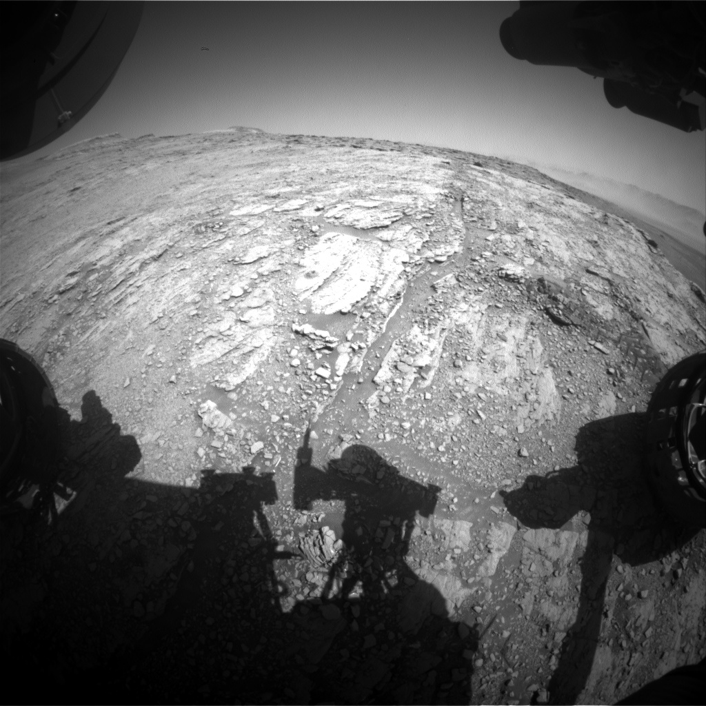 Nasa's Mars rover Curiosity acquired this image using its Front Hazard Avoidance Camera (Front Hazcam) on Sol 2521, at drive 3002, site number 76