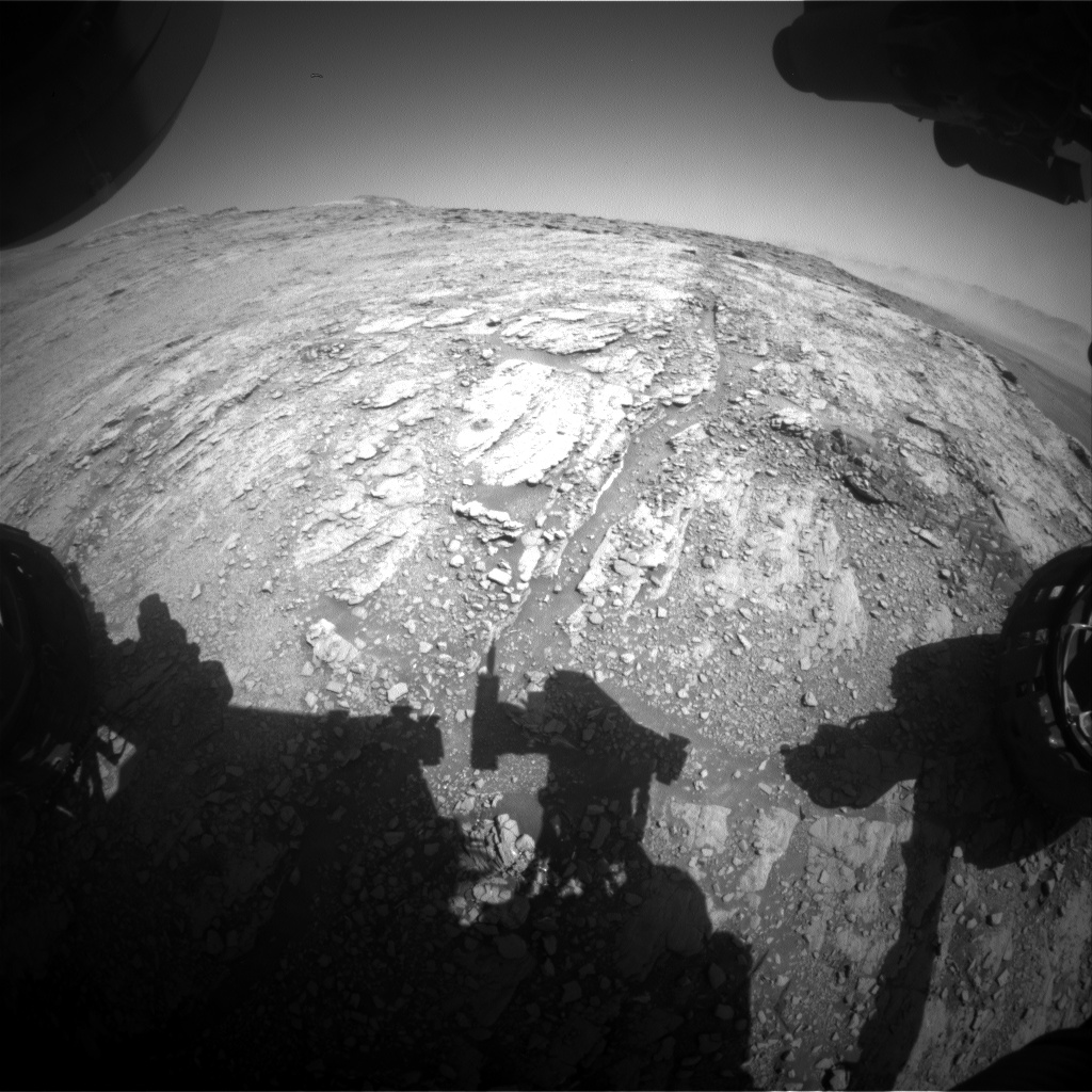 Nasa's Mars rover Curiosity acquired this image using its Front Hazard Avoidance Camera (Front Hazcam) on Sol 2522, at drive 3002, site number 76