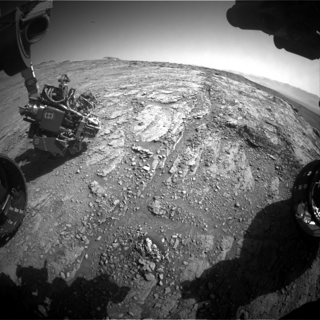 Nasa's Mars rover Curiosity acquired this image using its Front Hazard Avoidance Camera (Front Hazcam) on Sol 2523, at drive 3002, site number 76