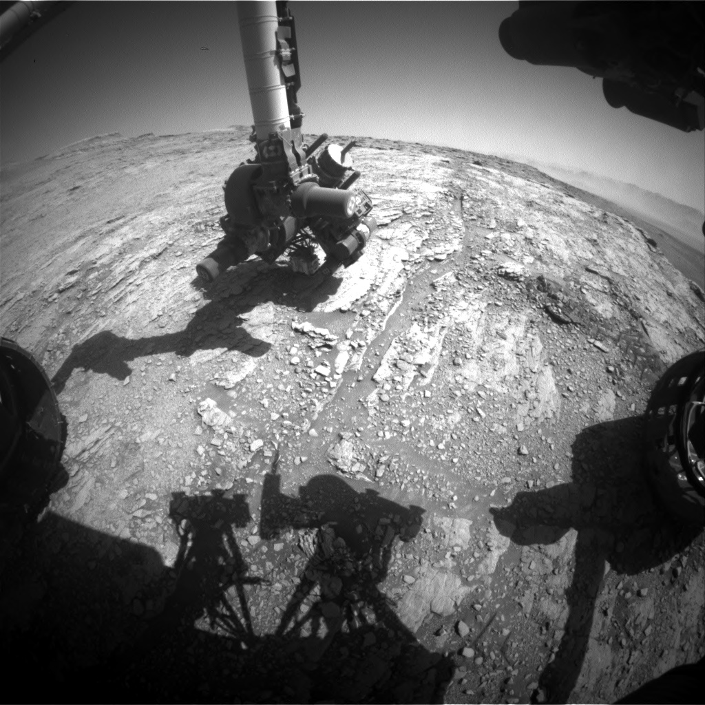 Nasa's Mars rover Curiosity acquired this image using its Front Hazard Avoidance Camera (Front Hazcam) on Sol 2525, at drive 3002, site number 76