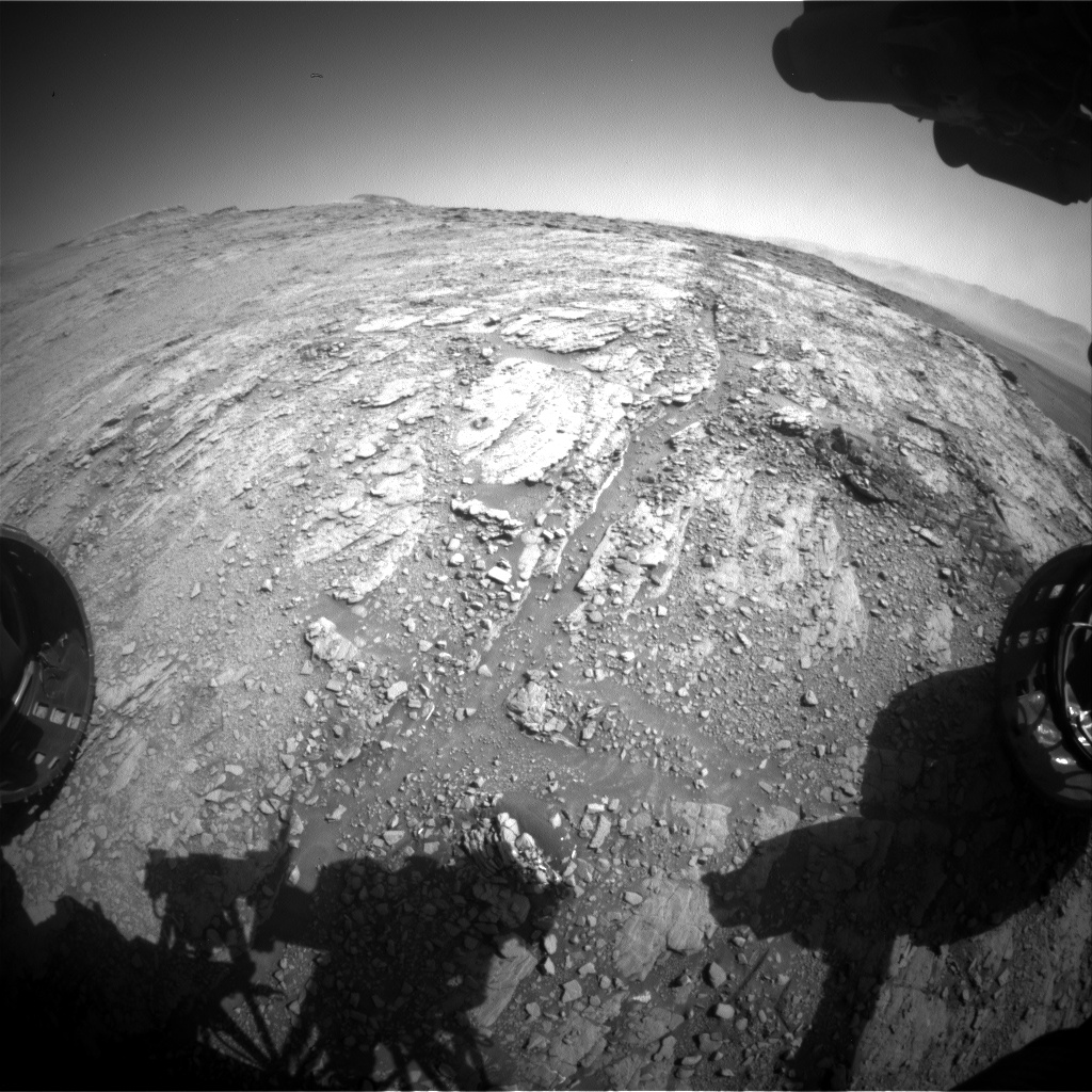 Nasa's Mars rover Curiosity acquired this image using its Front Hazard Avoidance Camera (Front Hazcam) on Sol 2526, at drive 3002, site number 76