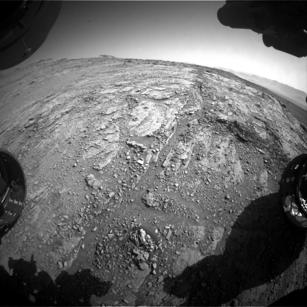 Nasa's Mars rover Curiosity acquired this image using its Front Hazard Avoidance Camera (Front Hazcam) on Sol 2529, at drive 3002, site number 76