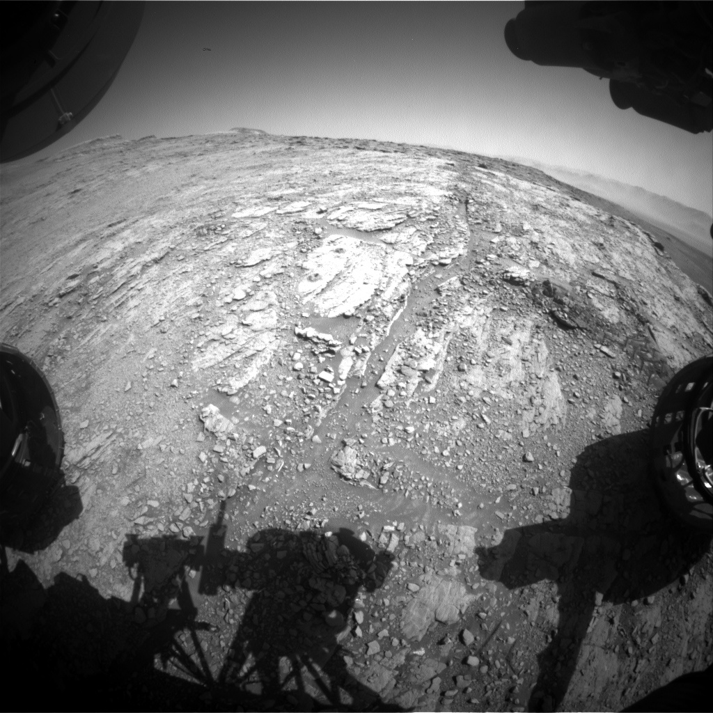 Nasa's Mars rover Curiosity acquired this image using its Front Hazard Avoidance Camera (Front Hazcam) on Sol 2530, at drive 3002, site number 76