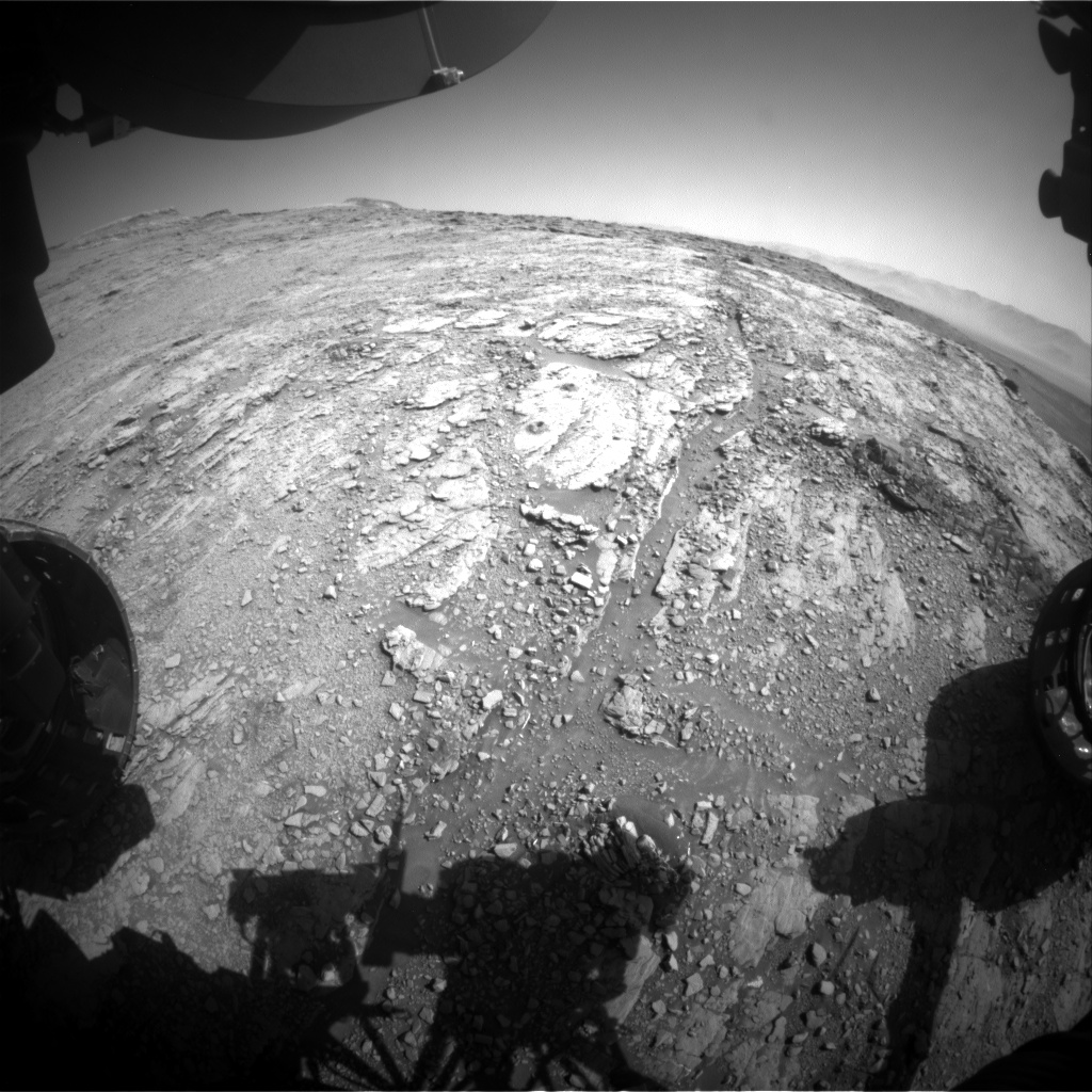 Nasa's Mars rover Curiosity acquired this image using its Front Hazard Avoidance Camera (Front Hazcam) on Sol 2533, at drive 3002, site number 76