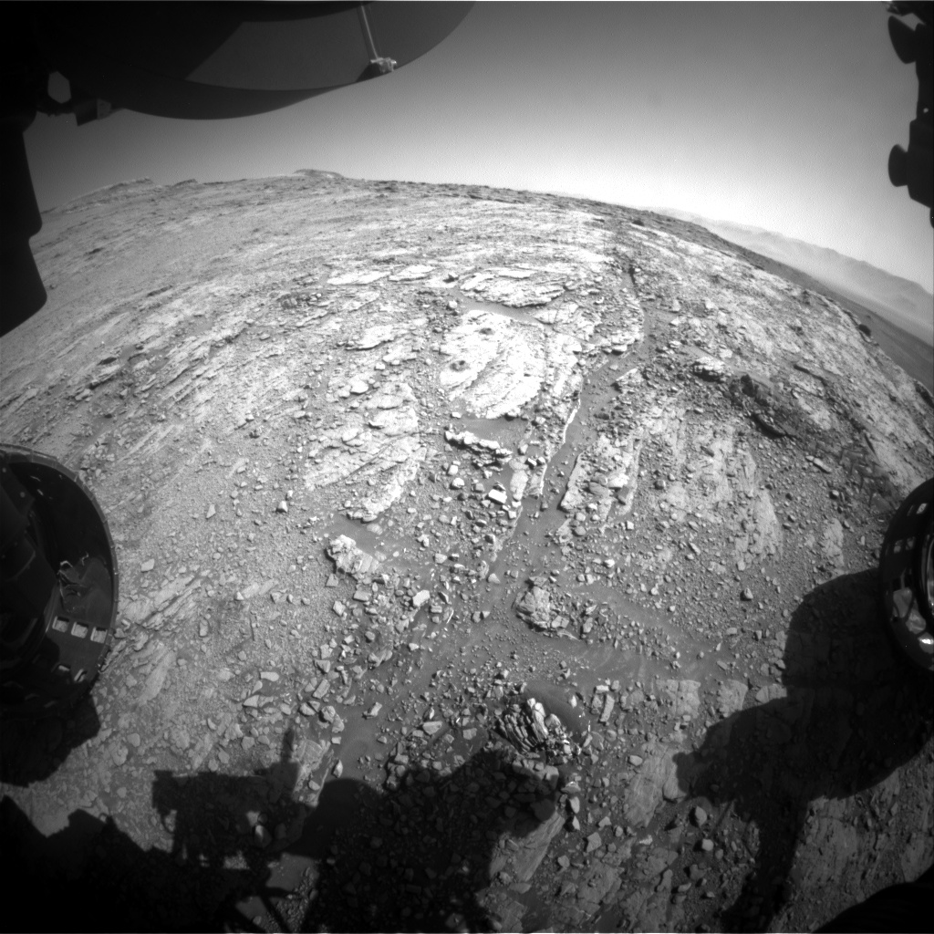 Nasa's Mars rover Curiosity acquired this image using its Front Hazard Avoidance Camera (Front Hazcam) on Sol 2534, at drive 3002, site number 76