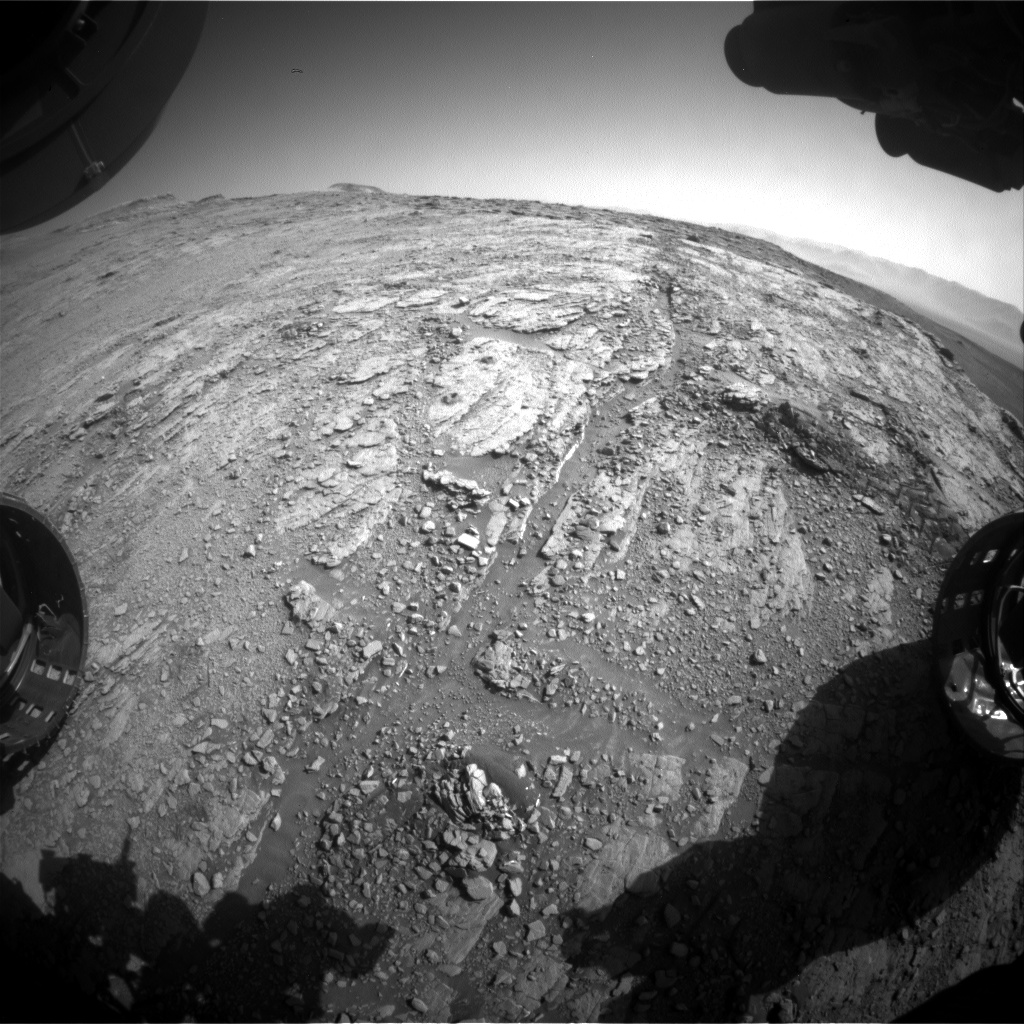 Nasa's Mars rover Curiosity acquired this image using its Front Hazard Avoidance Camera (Front Hazcam) on Sol 2536, at drive 3002, site number 76