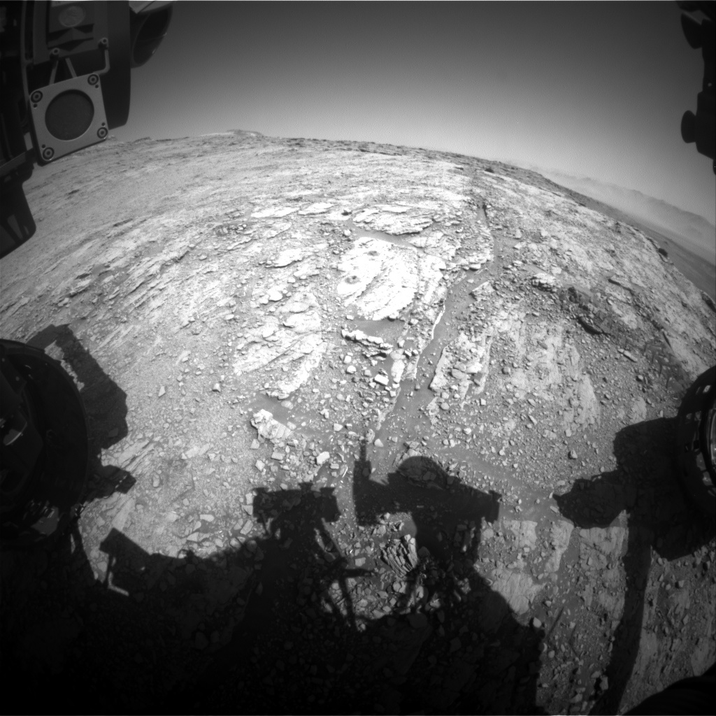 Nasa's Mars rover Curiosity acquired this image using its Front Hazard Avoidance Camera (Front Hazcam) on Sol 2538, at drive 3002, site number 76