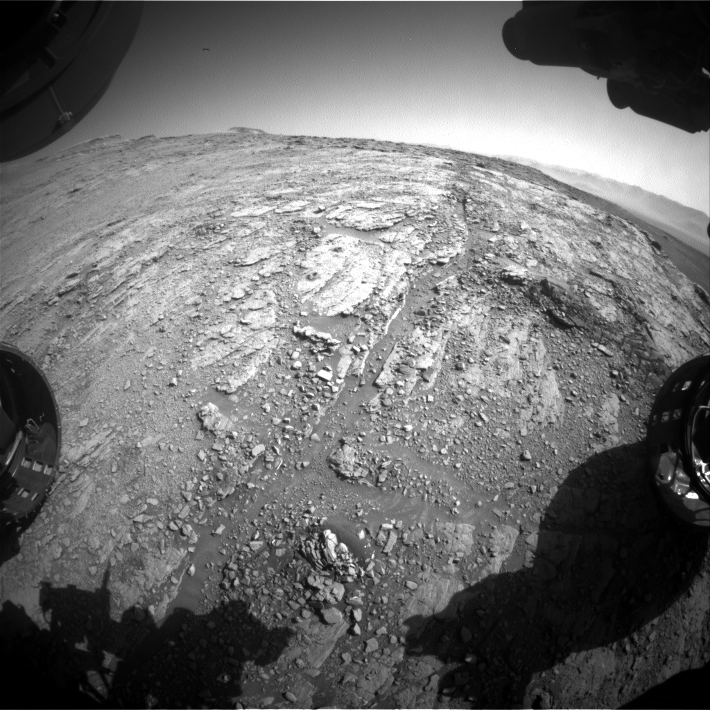 Nasa's Mars rover Curiosity acquired this image using its Front Hazard Avoidance Camera (Front Hazcam) on Sol 2542, at drive 3002, site number 76