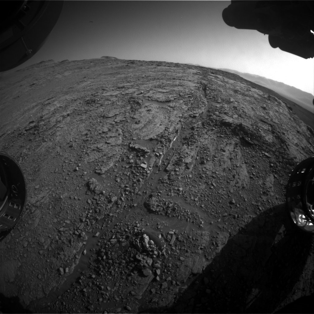 Nasa's Mars rover Curiosity acquired this image using its Front Hazard Avoidance Camera (Front Hazcam) on Sol 2543, at drive 3002, site number 76
