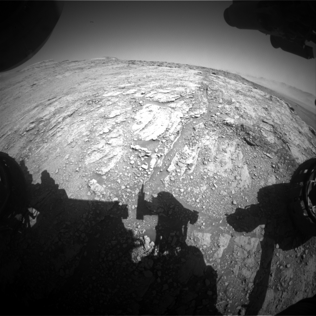 Nasa's Mars rover Curiosity acquired this image using its Front Hazard Avoidance Camera (Front Hazcam) on Sol 2544, at drive 3002, site number 76