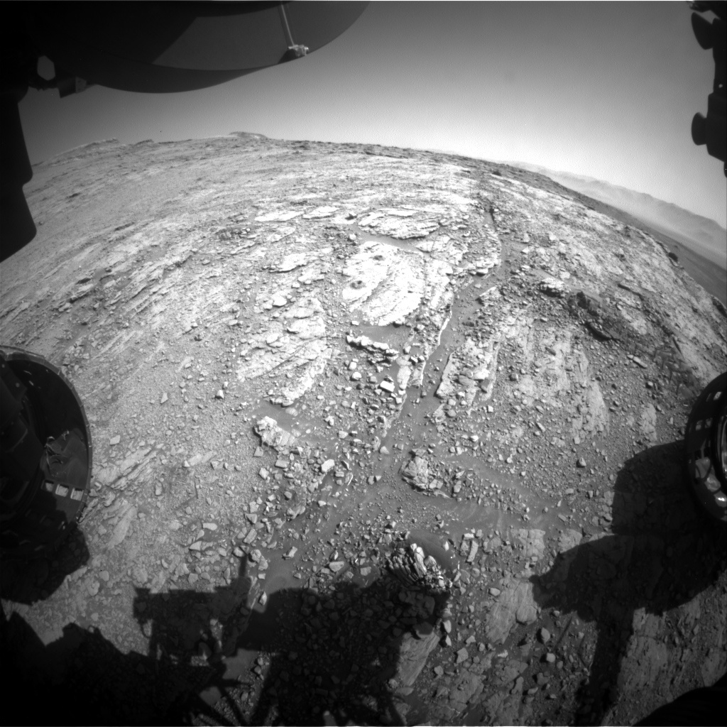 Nasa's Mars rover Curiosity acquired this image using its Front Hazard Avoidance Camera (Front Hazcam) on Sol 2548, at drive 3002, site number 76