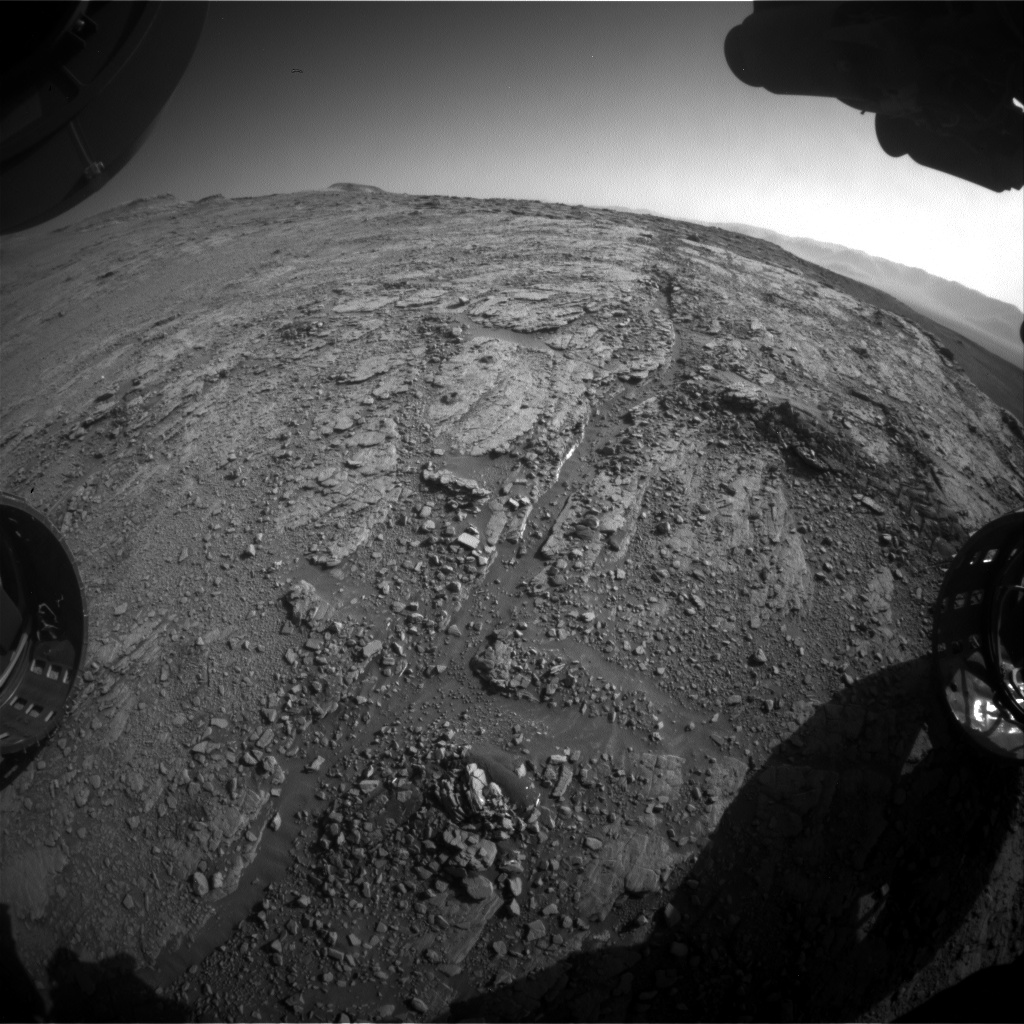 Nasa's Mars rover Curiosity acquired this image using its Front Hazard Avoidance Camera (Front Hazcam) on Sol 2549, at drive 3002, site number 76