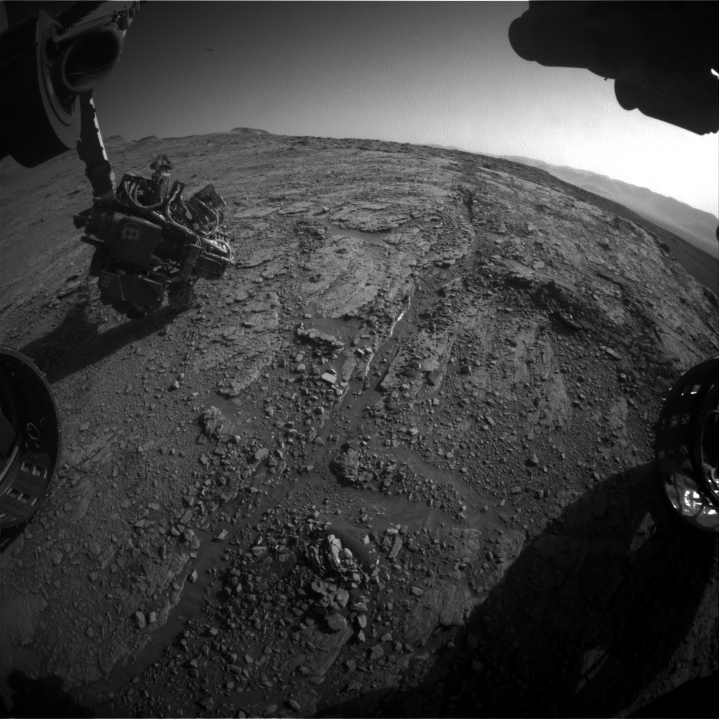 Nasa's Mars rover Curiosity acquired this image using its Front Hazard Avoidance Camera (Front Hazcam) on Sol 2551, at drive 3002, site number 76