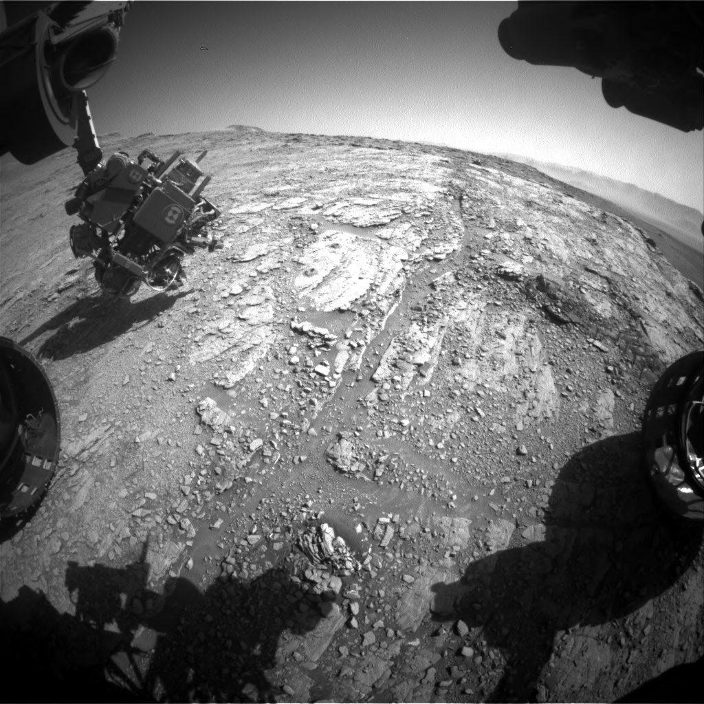 Nasa's Mars rover Curiosity acquired this image using its Front Hazard Avoidance Camera (Front Hazcam) on Sol 2552, at drive 3002, site number 76