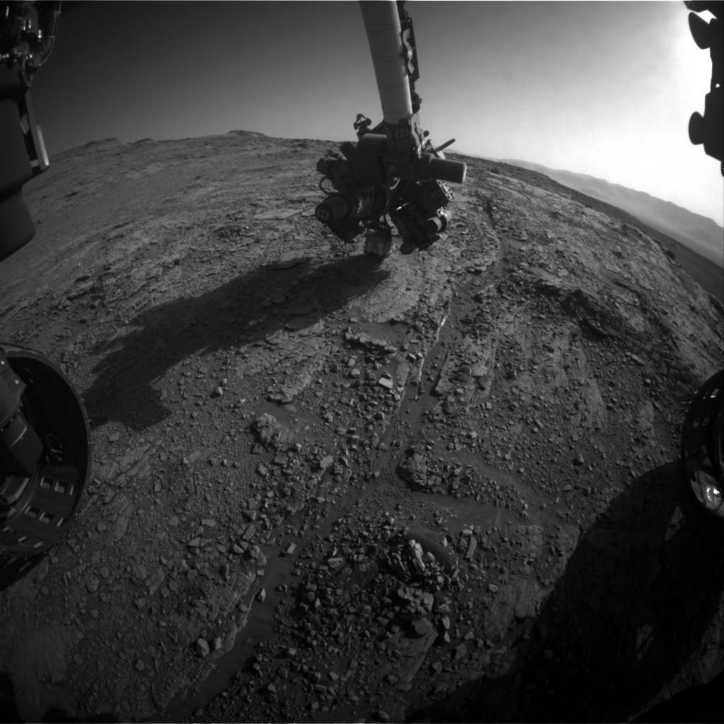 Nasa's Mars rover Curiosity acquired this image using its Front Hazard Avoidance Camera (Front Hazcam) on Sol 2553, at drive 3002, site number 76