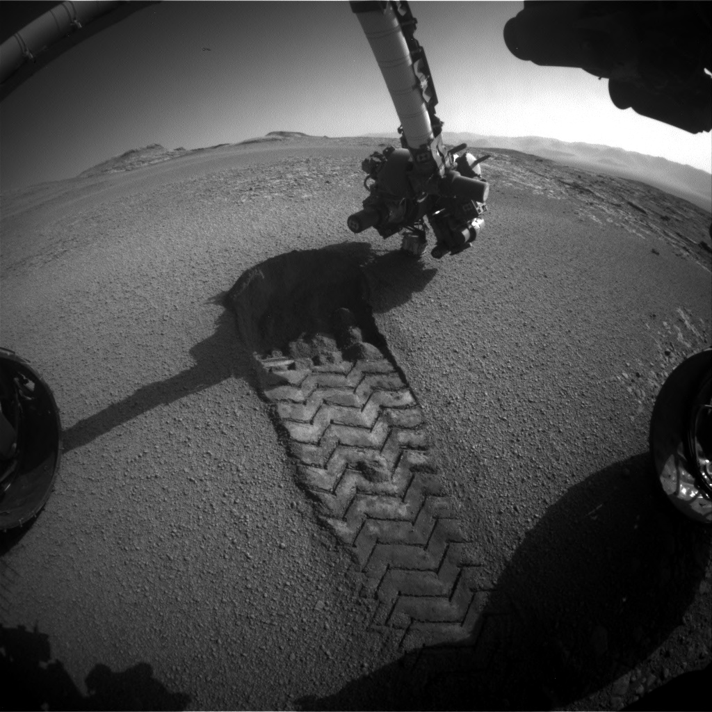 Nasa's Mars rover Curiosity acquired this image using its Front Hazard Avoidance Camera (Front Hazcam) on Sol 2557, at drive 70, site number 77
