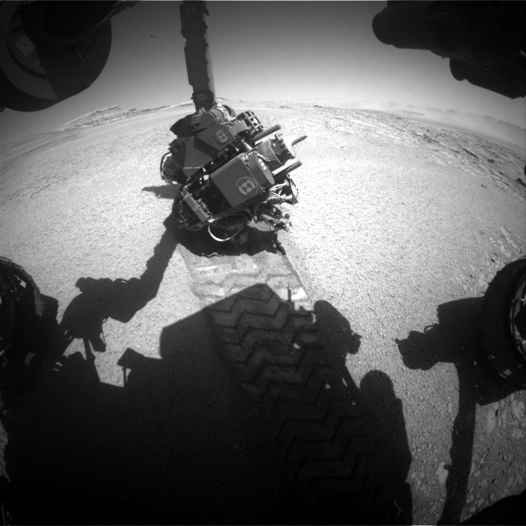 Nasa's Mars rover Curiosity acquired this image using its Front Hazard Avoidance Camera (Front Hazcam) on Sol 2559, at drive 70, site number 77