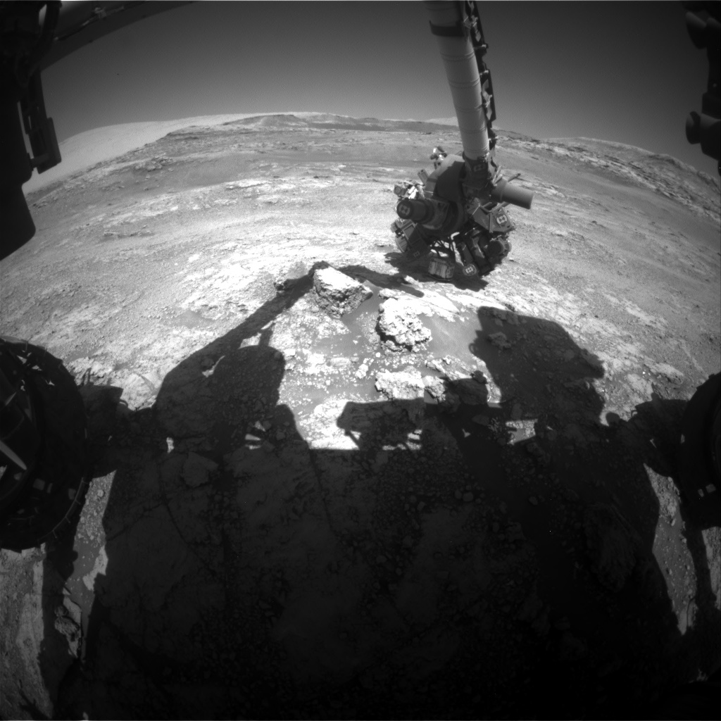 Nasa's Mars rover Curiosity acquired this image using its Front Hazard Avoidance Camera (Front Hazcam) on Sol 2568, at drive 574, site number 77