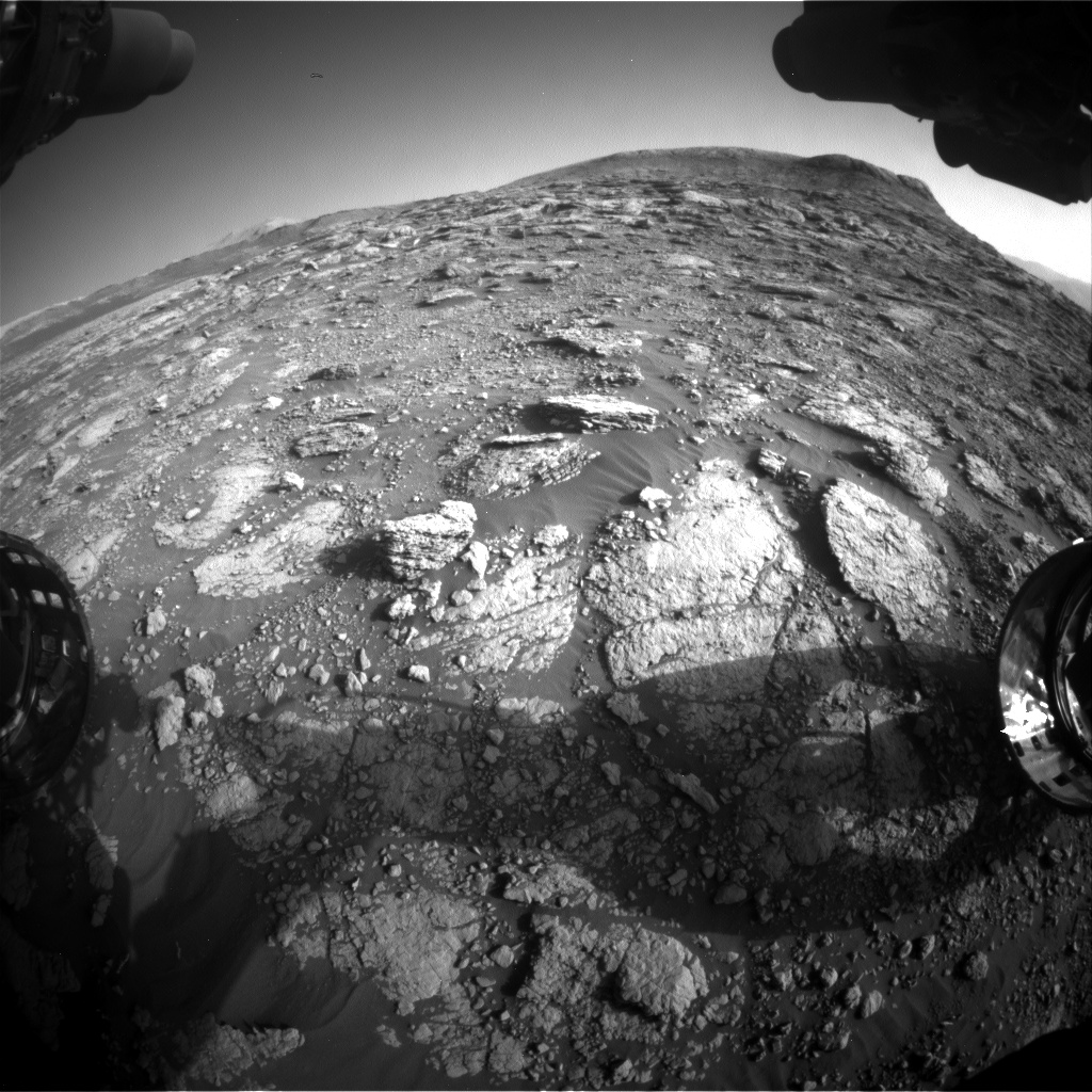 Nasa's Mars rover Curiosity acquired this image using its Front Hazard Avoidance Camera (Front Hazcam) on Sol 2568, at drive 910, site number 77