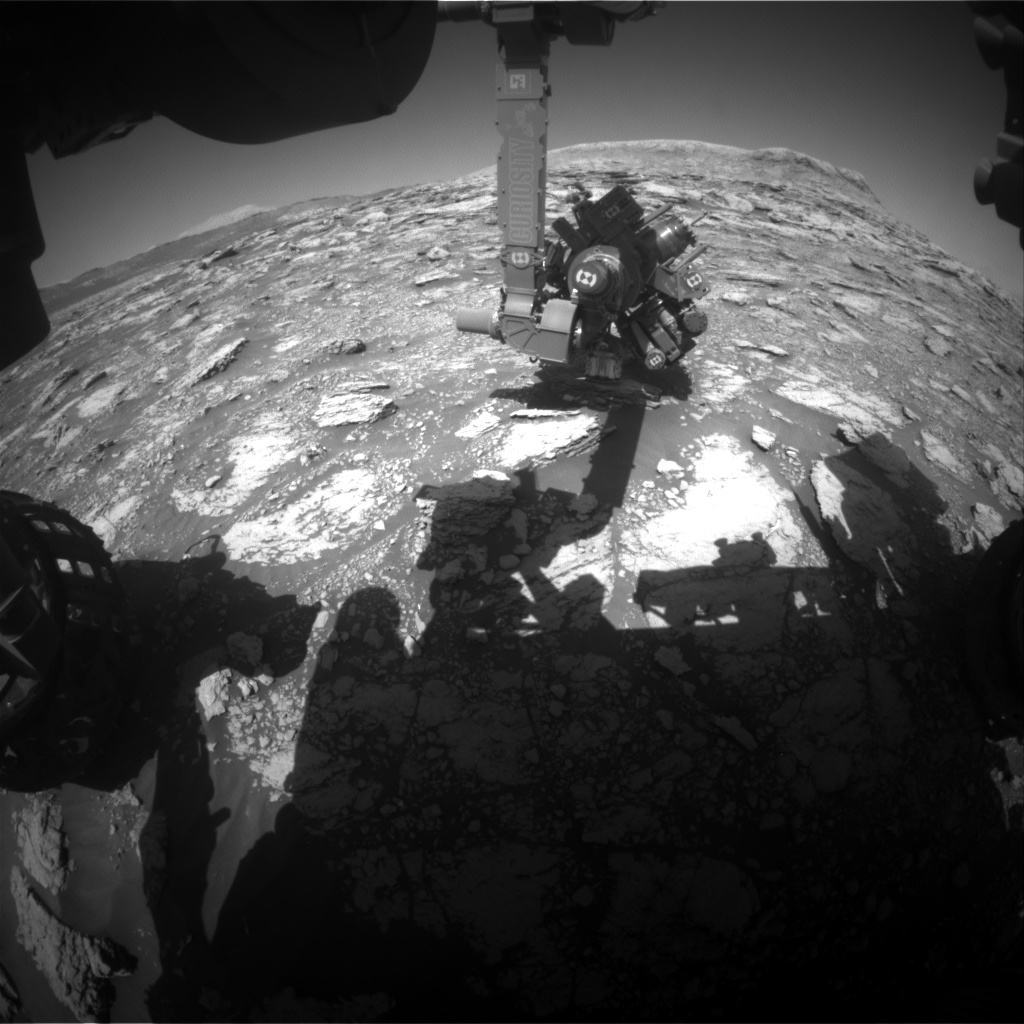 Nasa's Mars rover Curiosity acquired this image using its Front Hazard Avoidance Camera (Front Hazcam) on Sol 2570, at drive 910, site number 77