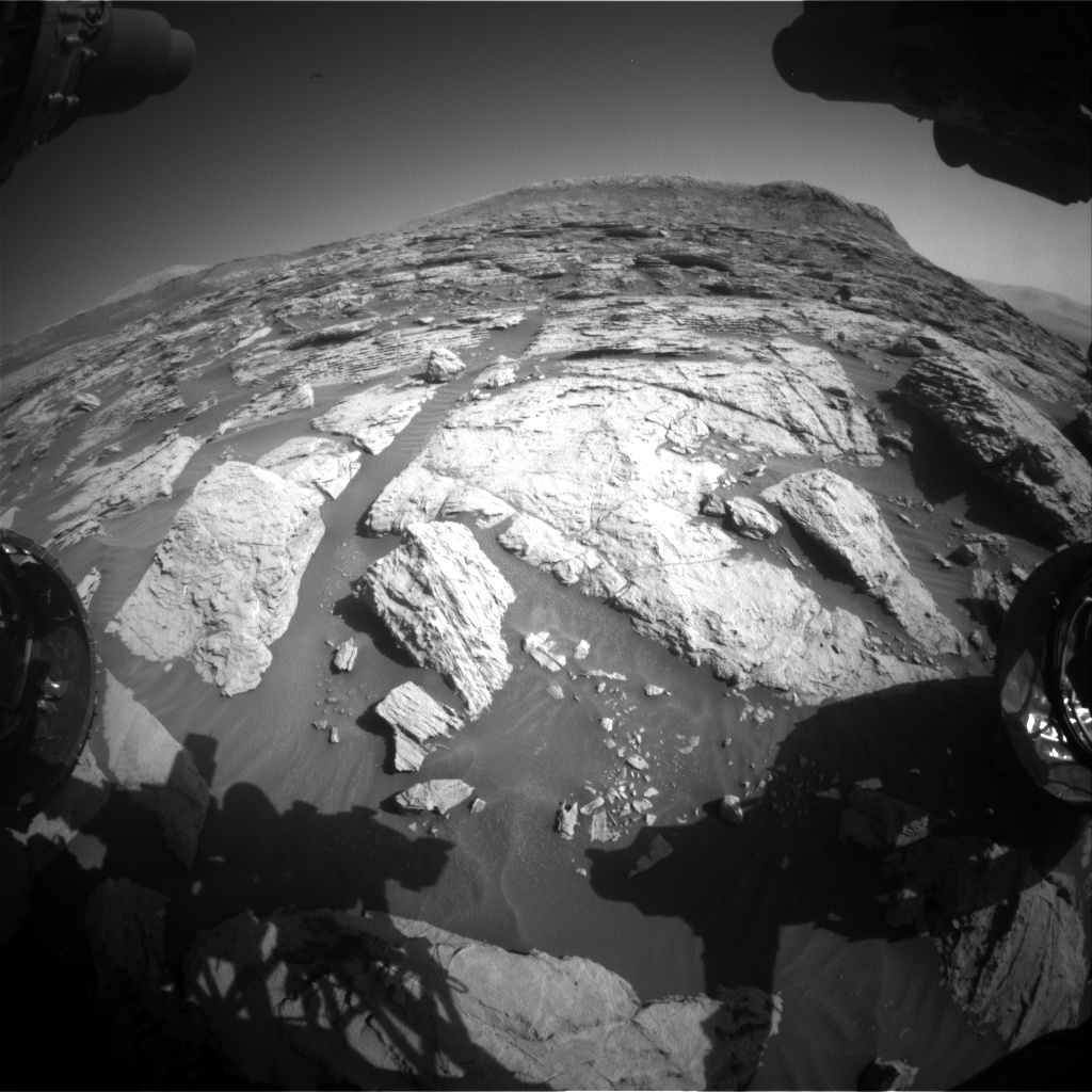 Nasa's Mars rover Curiosity acquired this image using its Front Hazard Avoidance Camera (Front Hazcam) on Sol 2570, at drive 1006, site number 77