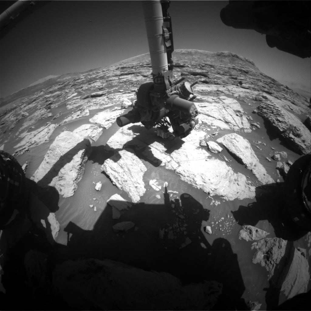 Nasa's Mars rover Curiosity acquired this image using its Front Hazard Avoidance Camera (Front Hazcam) on Sol 2572, at drive 1006, site number 77