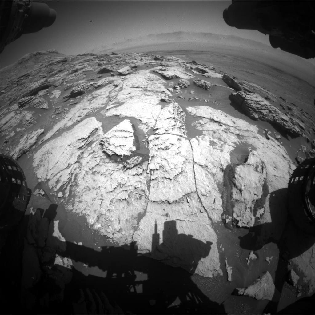 Nasa's Mars rover Curiosity acquired this image using its Front Hazard Avoidance Camera (Front Hazcam) on Sol 2573, at drive 1070, site number 77