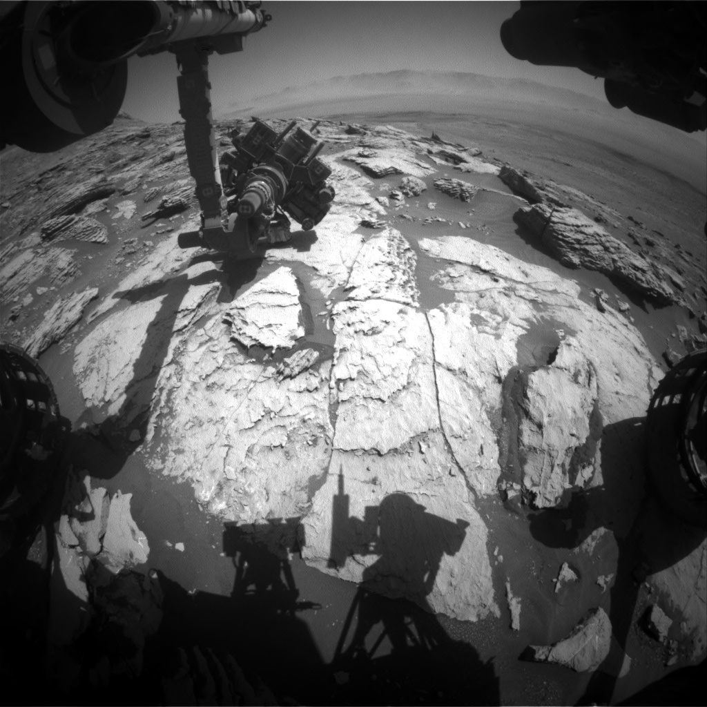 Nasa's Mars rover Curiosity acquired this image using its Front Hazard Avoidance Camera (Front Hazcam) on Sol 2575, at drive 1070, site number 77