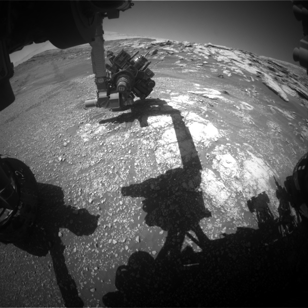 Nasa's Mars rover Curiosity acquired this image using its Front Hazard Avoidance Camera (Front Hazcam) on Sol 2577, at drive 1416, site number 77