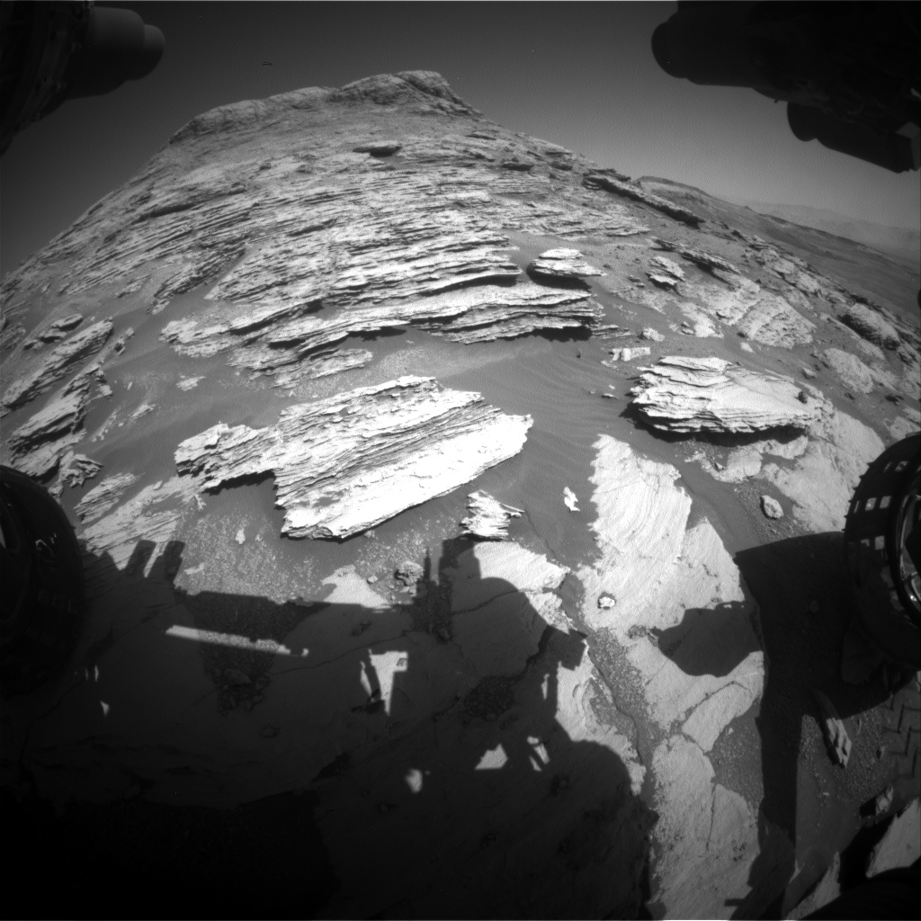 Nasa's Mars rover Curiosity acquired this image using its Front Hazard Avoidance Camera (Front Hazcam) on Sol 2577, at drive 1560, site number 77