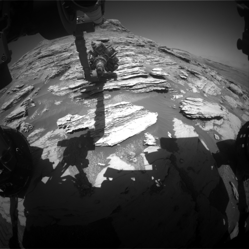 Nasa's Mars rover Curiosity acquired this image using its Front Hazard Avoidance Camera (Front Hazcam) on Sol 2579, at drive 1560, site number 77