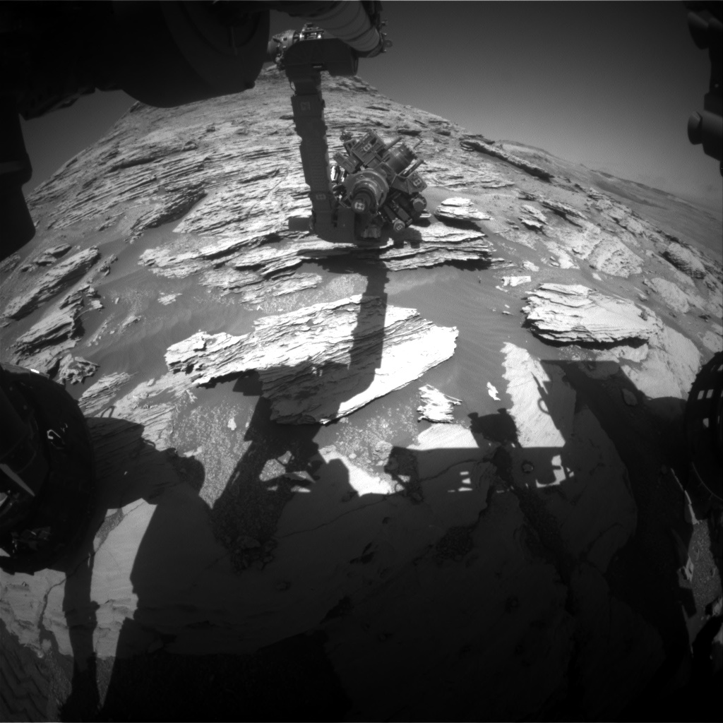 Nasa's Mars rover Curiosity acquired this image using its Front Hazard Avoidance Camera (Front Hazcam) on Sol 2582, at drive 1560, site number 77