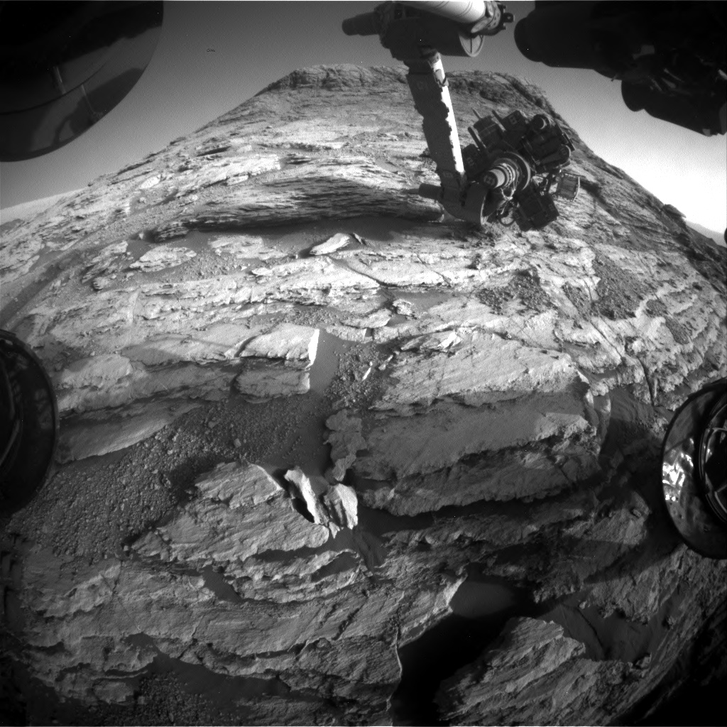 Nasa's Mars rover Curiosity acquired this image using its Front Hazard Avoidance Camera (Front Hazcam) on Sol 2585, at drive 1626, site number 77