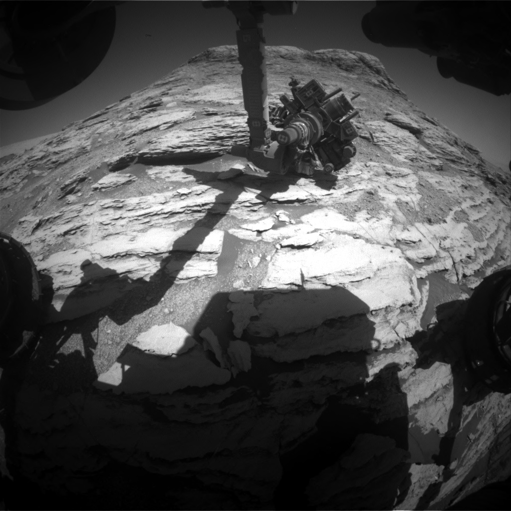 Nasa's Mars rover Curiosity acquired this image using its Front Hazard Avoidance Camera (Front Hazcam) on Sol 2586, at drive 1626, site number 77