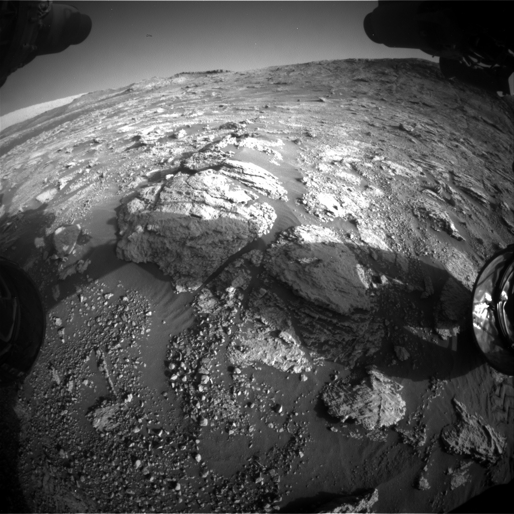 Nasa's Mars rover Curiosity acquired this image using its Front Hazard Avoidance Camera (Front Hazcam) on Sol 2602, at drive 2954, site number 77