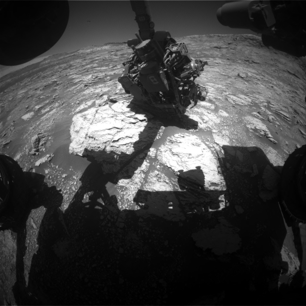 Nasa's Mars rover Curiosity acquired this image using its Front Hazard Avoidance Camera (Front Hazcam) on Sol 2604, at drive 2954, site number 77