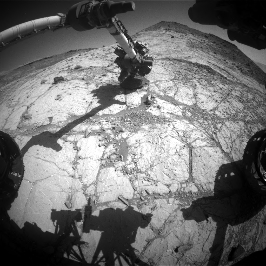 Nasa's Mars rover Curiosity acquired this image using its Front Hazard Avoidance Camera (Front Hazcam) on Sol 2631, at drive 1002, site number 78