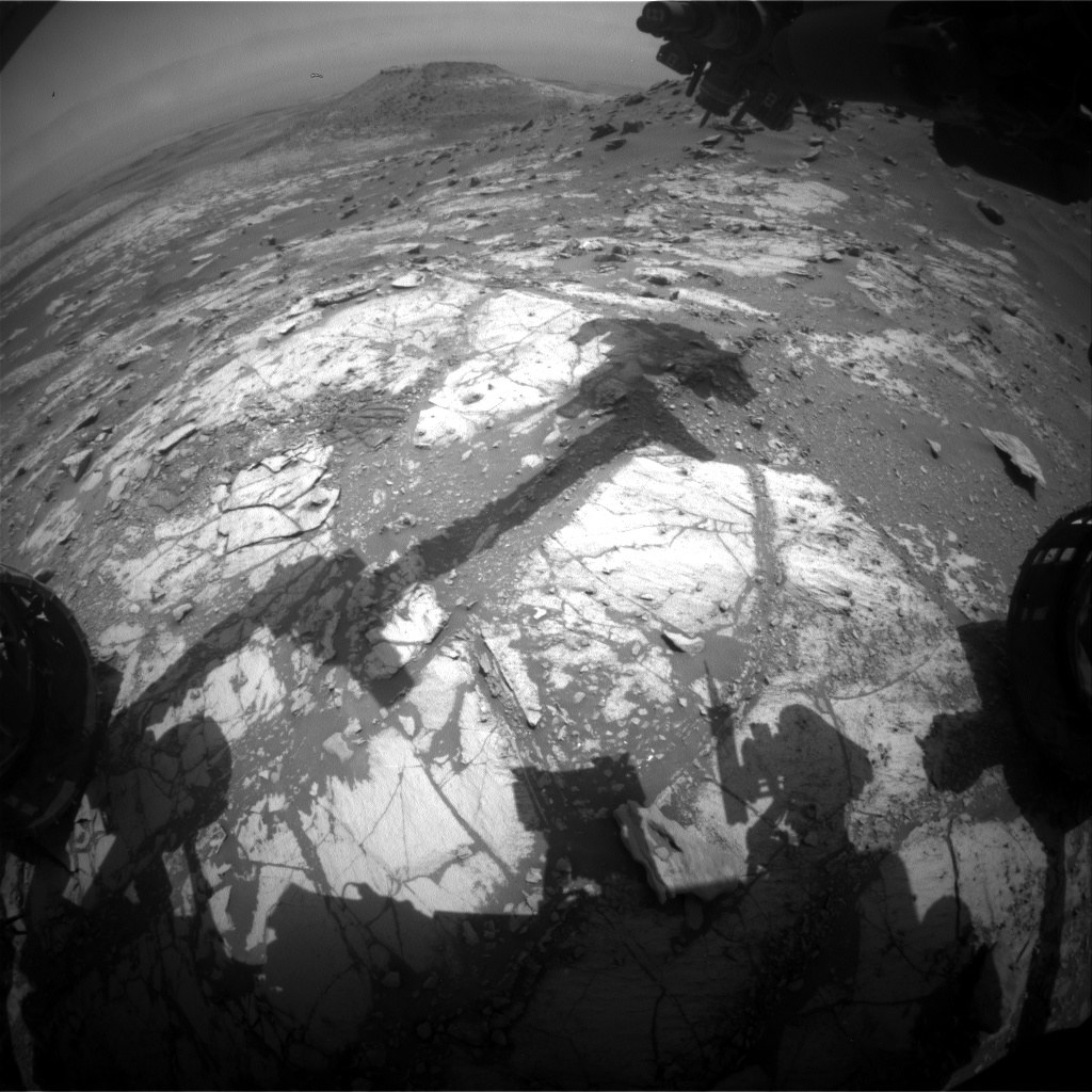 Nasa's Mars rover Curiosity acquired this image using its Front Hazard Avoidance Camera (Front Hazcam) on Sol 2677, at drive 0, site number 79