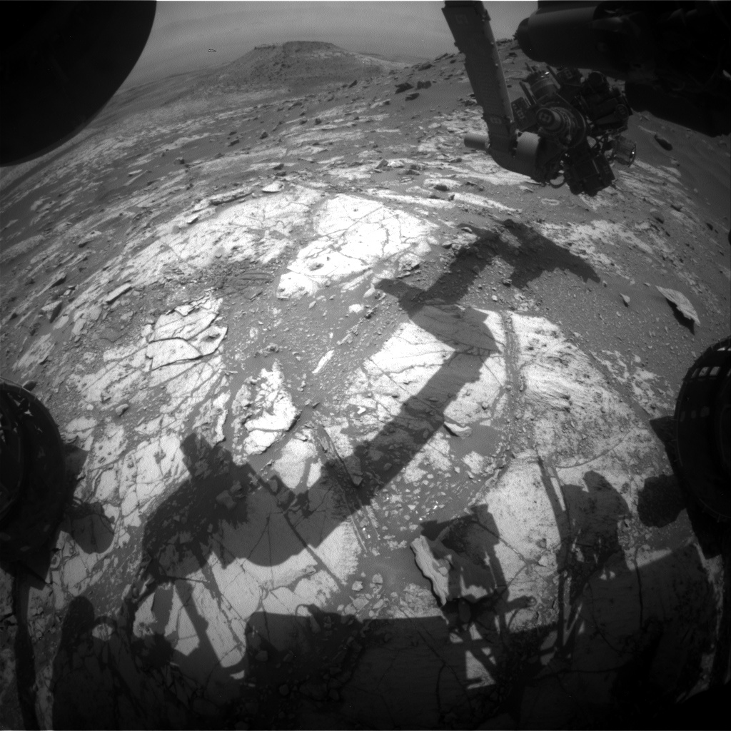 Nasa's Mars rover Curiosity acquired this image using its Front Hazard Avoidance Camera (Front Hazcam) on Sol 2688, at drive 0, site number 79