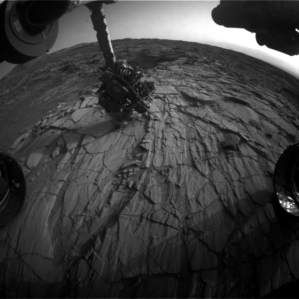Nasa's Mars rover Curiosity acquired this image using its Front Hazard Avoidance Camera (Front Hazcam) on Sol 2701, at drive 588, site number 79