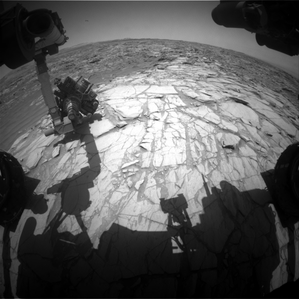 Nasa's Mars rover Curiosity acquired this image using its Front Hazard Avoidance Camera (Front Hazcam) on Sol 2702, at drive 588, site number 79