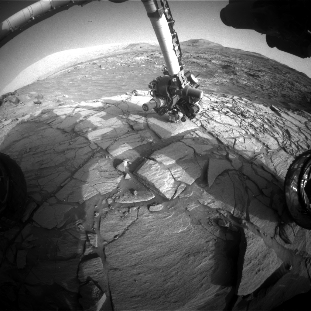 Nasa's Mars rover Curiosity acquired this image using its Front Hazard Avoidance Camera (Front Hazcam) on Sol 2703, at drive 654, site number 79