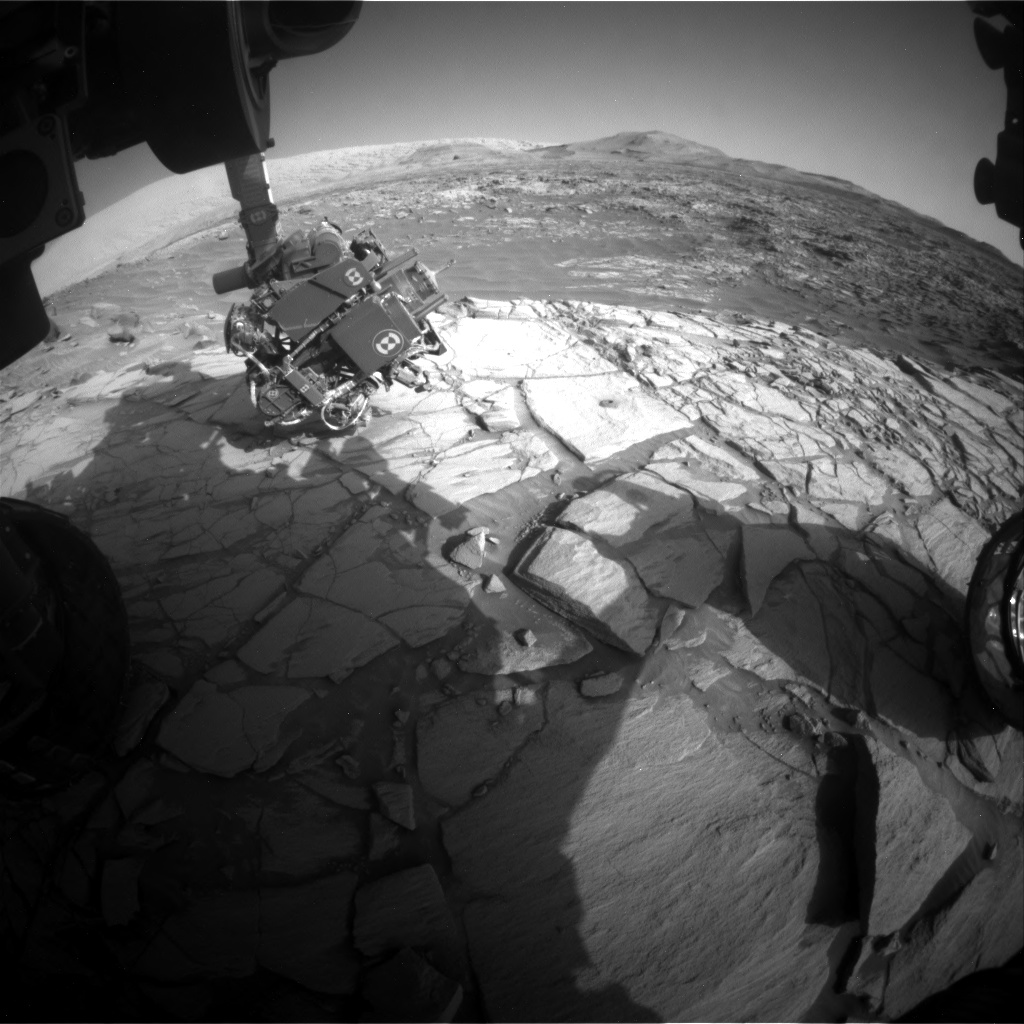 Nasa's Mars rover Curiosity acquired this image using its Front Hazard Avoidance Camera (Front Hazcam) on Sol 2724, at drive 654, site number 79
