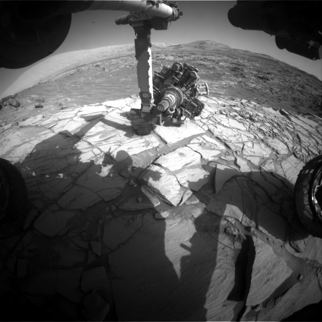 Nasa's Mars rover Curiosity acquired this image using its Front Hazard Avoidance Camera (Front Hazcam) on Sol 2727, at drive 654, site number 79
