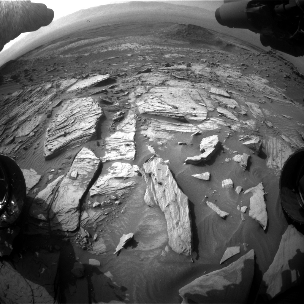Nasa's Mars rover Curiosity acquired this image using its Front Hazard Avoidance Camera (Front Hazcam) on Sol 2732, at drive 972, site number 79
