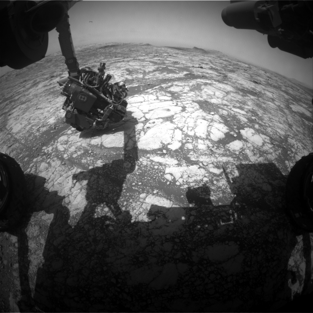 Nasa's Mars rover Curiosity acquired this image using its Front Hazard Avoidance Camera (Front Hazcam) on Sol 2775, at drive 2008, site number 79