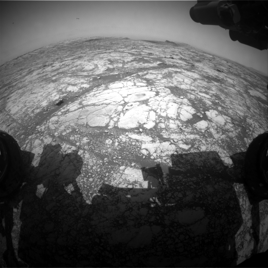 Nasa's Mars rover Curiosity acquired this image using its Front Hazard Avoidance Camera (Front Hazcam) on Sol 2776, at drive 2008, site number 79